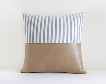 Vegan Tan Leather and Blue stripes (Pillow Cover Only)