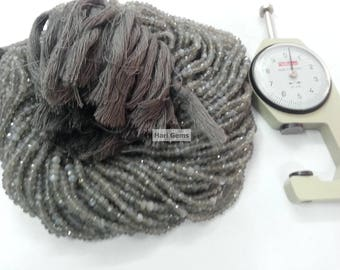 13 Inch Gray Moonstone Faceted Rondelle Beads Strand 100% Natural Grey Moonstone Faceted Beads - Moonstone Beads - Moonstone Rondelle