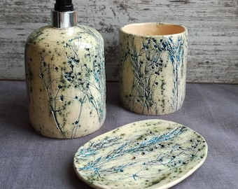 """Set for the bathroom """"blue grass"""".Ceramics And Pottery. pottery in the interior."""