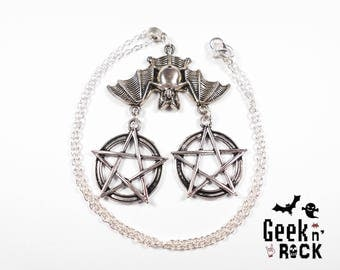 Bat Halloween Gothic necklace goth pentacle, mouse