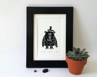 Bear linoprint, linocut print, bear print, linocut bear, art postcard, nursery wall decor, forest friend, woodland bear, teddy bear print