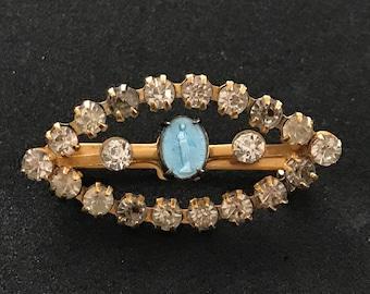 Vintage Blue Enamel Miraculous Medal and Clear Rhinestone Brooch, Virgin Mary Brooch, Religious Brooch, Catholic Brooch