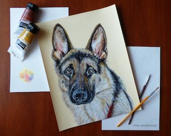 """German Shepherd, Dog Painting, Pet Portrait, German Shepherd Artwork, 14""""x11"""", acrylic on watercolor paper, original hand painted artwork"""