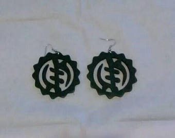 The Love of Adinkra Earrings, Hand painted Black, Wooden earrings, The symbol of Power, The love of Ghana