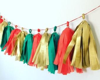 Holiday Tissue Tassel Garland