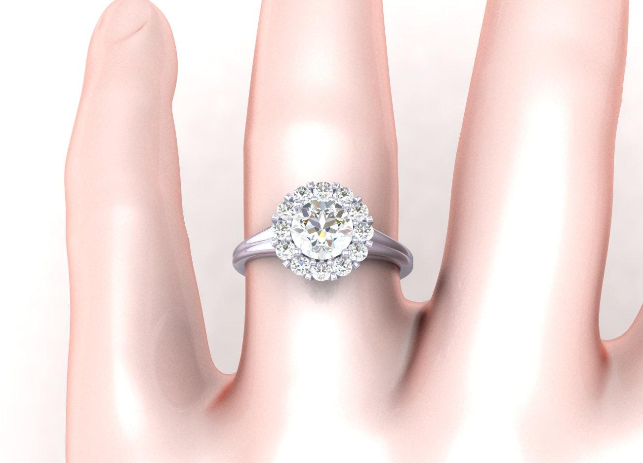 Crown Halo Engagement Ring- Wedding Ring -AnniversaryRing with a ...