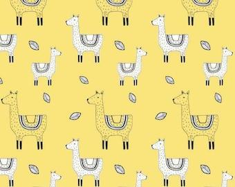 1/2 Yard Organic Cotton Jersey Knit, Ämne fabric ,Organic Knit Fabric, Llama Fabric