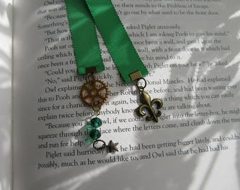 OOAK Steampunk Bookmark, Fleur De Lis  Bookmark, Ribbon Bookmark, Book lovers Gift