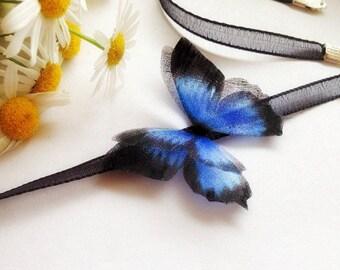 Blue Butterfly Choker, Choker with Butterfly, Blue Butterfly, Dark Butterfly, Black Butterfly, Chocker, Chocker-Butterfly, Butterfly-Chocker