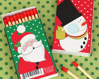 Holiday Favor Matches, Holiday Matchboxes -  Set of 50
