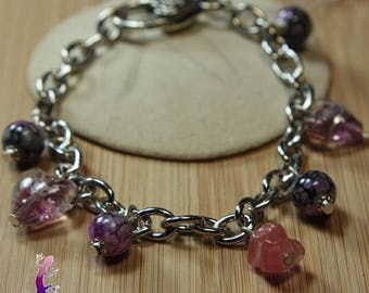 Chain bracelet with rose quartz and pink lampwork murano glass beads