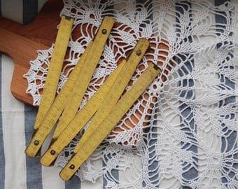 Yellow wooden folding ruler, Soviet Measuring Stick, Gift for him
