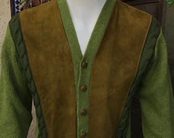 Vintage 1950's Cardigan Sweater Size Medium, Green with Suede Panels and Front Wool Cables Knit, Made in the USA
