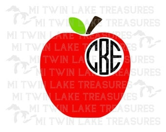 Apple Monogram SVG, PNG, Studio.3, Instant & Digital Download, For Silhouette and Cricut, Home, DIY, Teacher, Personal and Commercial Use