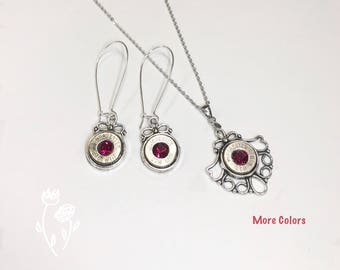 Bullet Jewelry Gift Set Made From Winchester 270 Bullets & Swarovski Crystals Valentines Special