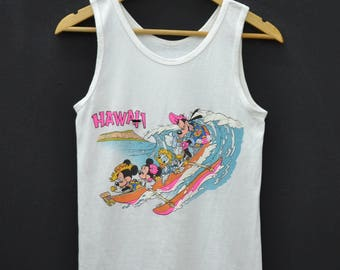 DISNEY Distressed Vintage 90's Disney Hawaiian Sleeveless Tank Top Shirt Size S