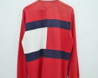 RARE!!! TOMMY HILFIGER Shirt Vintage Tommy Hilfiger Big Logo Long Sleeve Polo Tee T Shirt Size M