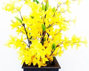 forsythia silk floral arrangement artificial flower arrangement faux flowers etsy home - Forsythia Arrangements