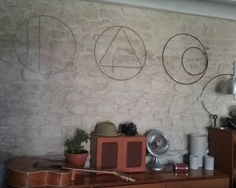 Shape round - design wall Sculpture - metal wall decor, model double bars / hand made in France