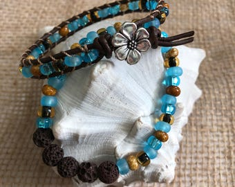 Blue and Brown Beachy Boho Leather & Diffuser Bracelet Set