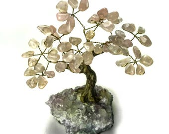 Small Rose Quartz Gemstone Tree on Amethyst Matrix