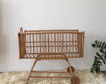 Mid century 60s baby bed bassinet crib cot from rattan bamboo