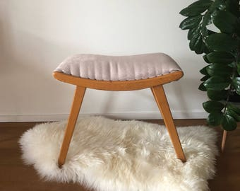 Mid century 50s 60-year upholstered stool