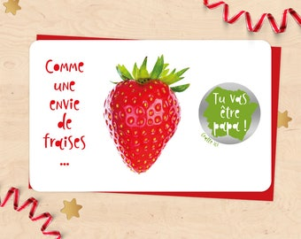 Mini Card scratch pregnancy announcement, you'll be dad, aunt, uncle, Grandma, Grandpa! - like strawberries collection