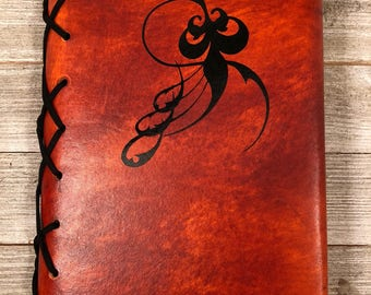 Refillable Leather Sketchbook with Vinyl Design - Multiple Designs Available - Makes a great Journal Gift for Mother's Day