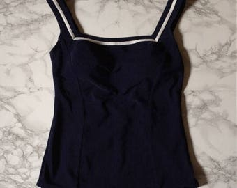 20% OFF SALE... navy blue maillot | nautical striped one piece swimsuit