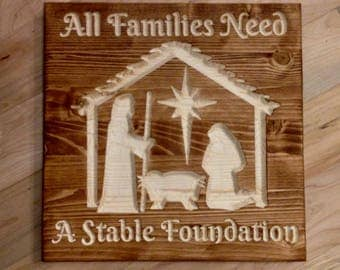 Christmas Manger Scene - Wall Art