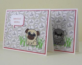 Pug Card, Sweetest Day Card, Pug Birthday Card, Pug Thank You Card, Dog Cards