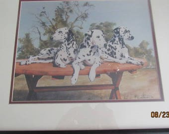 "RANDY J KLASSEN Print... ""Dalmations""... 18/100... 1989...Signed/Framed/Matted...Nice!!!"