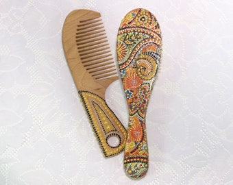 Hair brush comb wooden hair brush gift for her wood hair brush decoupage wooden hair brush hairbrush wooden hairbrush gift for girlfriend
