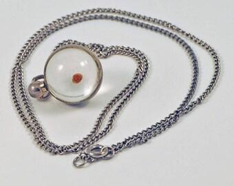 Vintge Mustard Seed Charm Pendant Jewelry / Mustard Seed Round Globe Charm Necklace  / Chain Necklace / Faith / Inspiration / Christianity