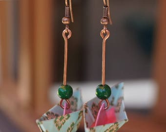 Earring back to childhood! Boat / Origami & copper