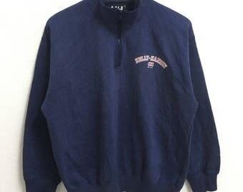 RARE!!! Helly Hansen Small Logo Half Zipper Dark Blue Colour Sweatshirts Hip Hop Swag L Size