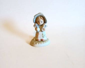 Lefton China Figurine Girl with 2 Puppies