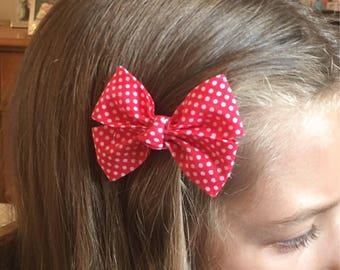 Red spotty hair bow, accessories, red polka dot bow, hair bow, girls hair accessories, hair clip, bow accessory, childrens hair clip