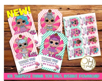 LOL surprise thank you tags,lol surprise party,lol surprise birthday,lol surprise printable,lol surprise party supplies,lol surprise party