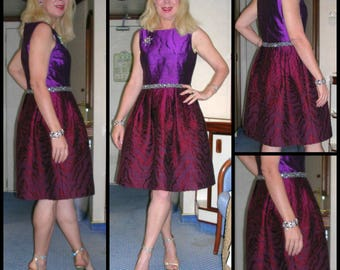 Vintage 1970's purple silk shot taffeta and superfine boucle wool Oscar de la Renta bombshell couture dress size: 10 & ft. braid + beads