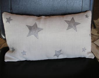 """Pillow cover in light grey washed linen """"stars"""""""