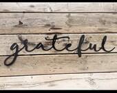 Grateful script wall art fall decor