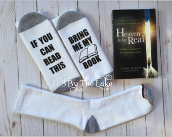 """If You Can Read This, """"Bring Me My Book""""  Funny Men Socks"""