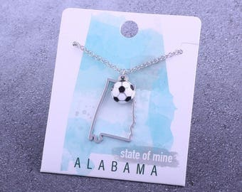 Customizable! State of Mine: Alabama Soccer Enamel Necklace - Great Soccer Gift!