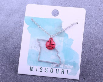 Customizable! State of Mine: Missouri Basketball Enamel Necklace - Great Basketball Gift!