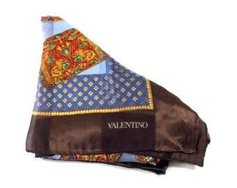 Vintage Valentino Scarf, Valentino Garavani Silk Scarf, Italian Vintage Scarf, Sophisticated Silk Square, Fashion, Art