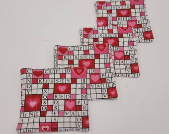 Crossword Hearts Quilted Coasters - Set of 4 and Free Shipping!