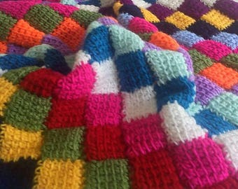 Crochet Baby Blanket   Multi-Colored Squares Soft Acrylic Yarn