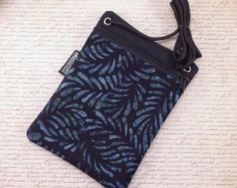 Cross body walking purse. Walking Travel pouch. Zip bag Grey and  black batik cell phone bag